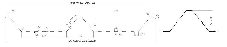 TRAPEZOIDAL TB TP 100952 - Desenho Técnico